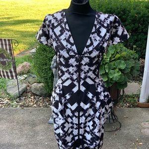 Geometric black & white cocktail dress